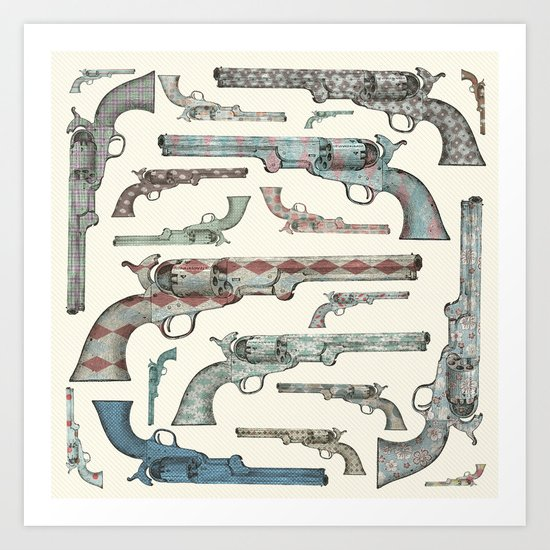 My vintage collection of pistols Art Print