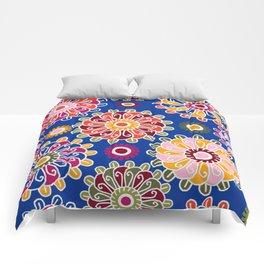 Optical Floral royal blue Comforters