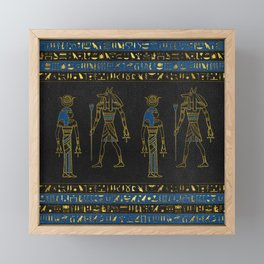 Golden Egyptian Gods and hieroglyphics on leather Framed Mini Art Print