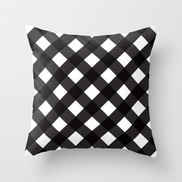 Contemporary Black & White Tilt Gingham Pattern - Mix & Match With Simplicty Of Life Throw Pillow
