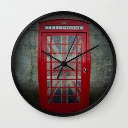 Call Me Red Telephone Box Wall Clock