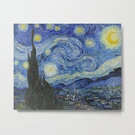 The Starry Night by Vincent van Gogh,1889 Metal Print