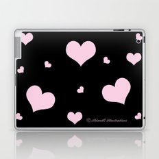Pretty pink heart pattern on black Laptop & iPad Skin
