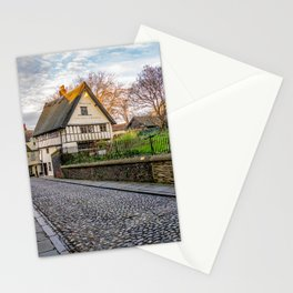 The medieval cobbled stone street of Elm Hill, Norwich Stationery Cards