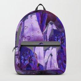 PURPLE AMETHYST CRYSTALS GREY ART Backpack