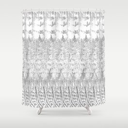 Feather Pattern | Grey and White Shower Curtain
