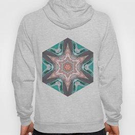 Beautiful Teal Kaleidoscope Design Abstract Art - Digital Art Hoody