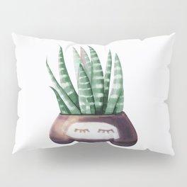 Sleepy Succulent Mint Green + Plum Pillow Sham