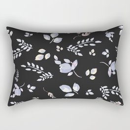 Spring watercolor leaves & tulips on charcoal background Rectangular Pillow