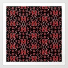 Red & Black Slavic Patterns Art Print
