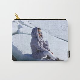 Girl in warm down-padded coat enjoys a look at snow top. Carry-All Pouch