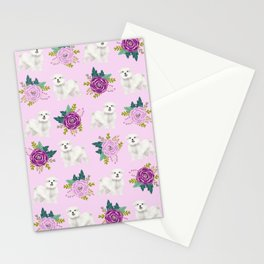 Maltese dog breed florals pattern cute gifts for dog lovers by pet friendly Stationery Cards