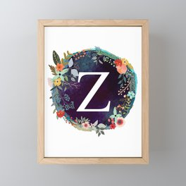 Personalized Monogram Initial Letter Z Floral Wreath Artwork Framed Mini Art Print