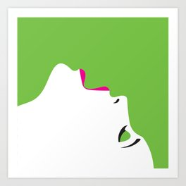 image of a woman's face green white Art Print