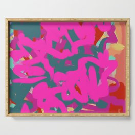 Fuchsia Pink, Teal Green & Orange Rust Thick Abstract Serving Tray