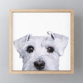 Schnauzer White Dog original painting print Framed Mini Art Print
