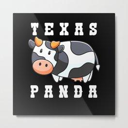 Giant Panda Gift Design Texas Panda Farmer Metal Print
