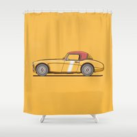 austin Shower Curtains featuring Austin Healey by Christopher Hebert