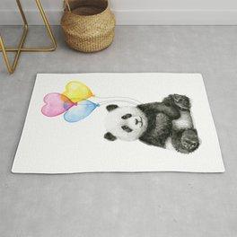 Panda Baby with Heart-Shaped Balloons Whimsical Animals Nursery Decor Rug