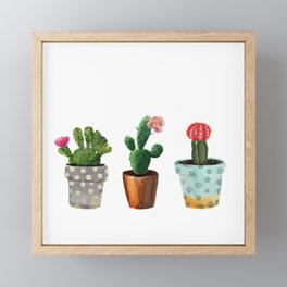 Three Cacti With Flowers On White Background Framed Mini Art Print