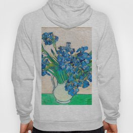 Irises by Vincent van Gogh Oil Painting Still Life Floral Arrangement In Vase Hoody