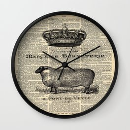 french dictionary print jubilee crown western country farm animal sheep Wall Clock