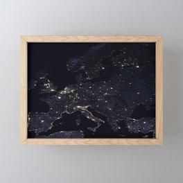 Europe at Night Framed Mini Art Print