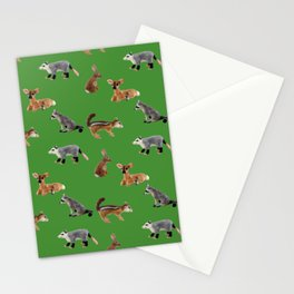 Backyard Critters in Green Stationery Cards