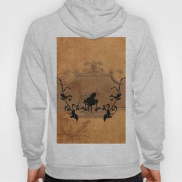 Music, piano with floral elements on vintage background Hoody