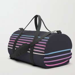Pink Colored Retro Stripes Duffle Bag