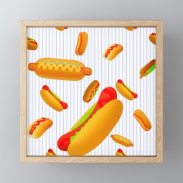 Hot Dog Pattern With Pinstripes Framed Mini Art Print