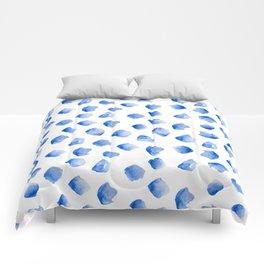watercolor blue dots Comforters