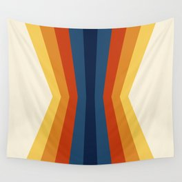 Bright 70's Retro Stripes Reflection Wall Tapestry