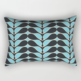 Retro wavy pattern. Blue and Black. Rectangular Pillow