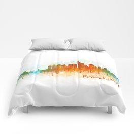 Frankfurt am Main, City Cityscape Skyline watercolor art v3 Comforters