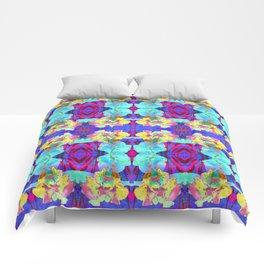 Fluorescent Watercolor Iris Art - Purple & Aqua Blue Comforters