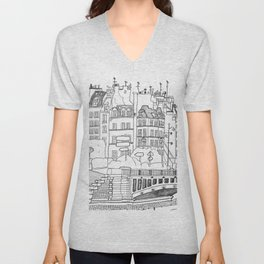 Paris Near Cathedral Notre-Dame Unisex V-Neck