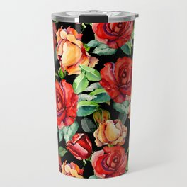 Hand painted black red watercolor roses floral Travel Mug