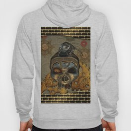Steampunk, awesome steampunk skull with steampunk rat Hoody