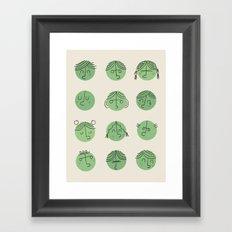 green faces Framed Art Print
