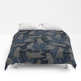 Lounging Cats On Terrazzo - Blue Comforters