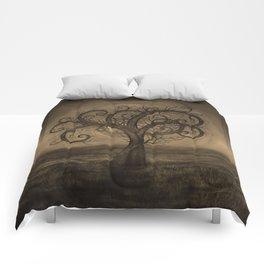 Golden Spiral Tree Sepia Comforters