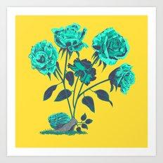 Snails N' Roses Art Print