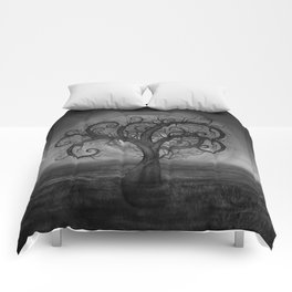 Golden Spiral Tree Black and White Comforters