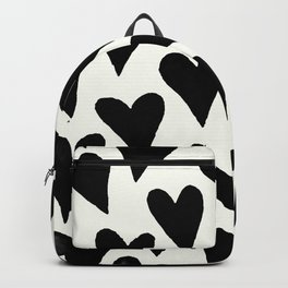 Black And White Monochrome Hearts Pattern Backpack