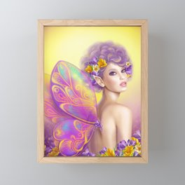 Beautiful girl fairy butterfly at pink and purple flower background Framed Mini Art Print