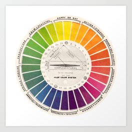 Vintage Color Wheel - Art Teaching Tool - Rainbow Mood Chart Art Print