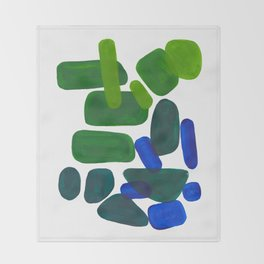 Mid Century Vintage Abstract Minimalist Colorful Pop Art Phthalo Blue Lime Green Pebble Shapes Throw Blanket