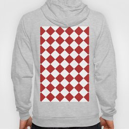 Large Diamonds - White and Firebrick Red Hoody