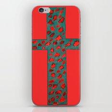 Coral & Teal Leopard Print Cross iPhone & iPod Skin